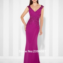 5978a98e259 Elegant Fuchsia Chiffon V-Neck Mermaid Mother of the bride dresses Plus  Size Formal Evening