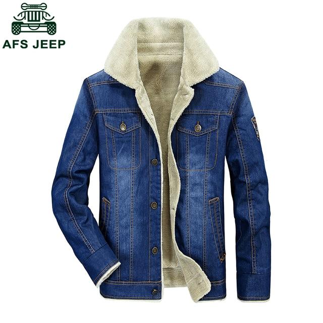04aaf9604af06 Fur Inside Windbreaker Winter Jeans Jackets Mens Original Brand AFS JEEP  Loose Plus Velvet Warm Denim