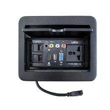 Slide type desktop multimedia information socket wall junction box socket board 175 length * 130 width * 5 thickness mm цена