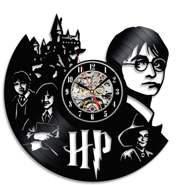 2017 Hot Vinyl Record Wall Clock Harry Potter Hermione Theme Art Watch Clock  Black Duvar Saati Home Decorative