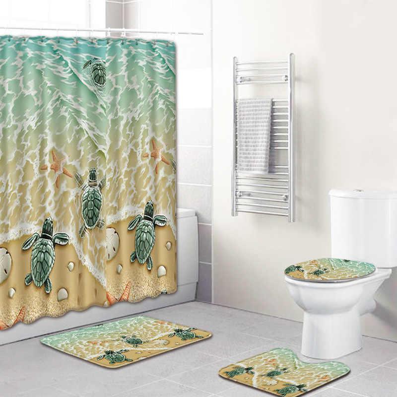 شاطئ السلاحف 4 قطع الحمام الستار نسيج مقاوم للماء دش الستار السجاد مجموعة بساط للحمام للحمام