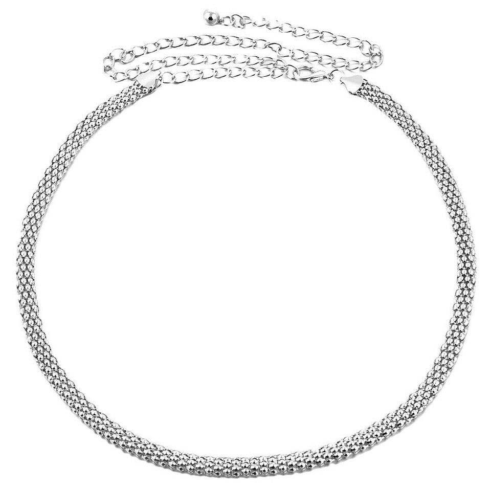 Oval big waist belt silver plated
