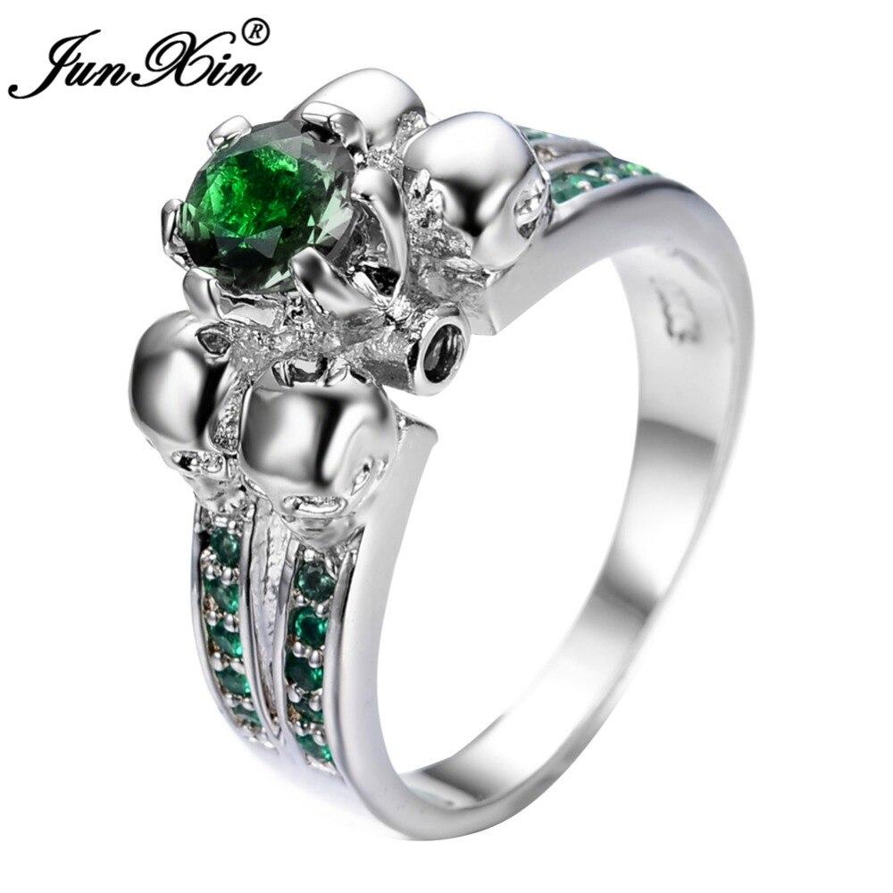 Gorgeous Green Skull Ring Vintage Wedding Rings For Women