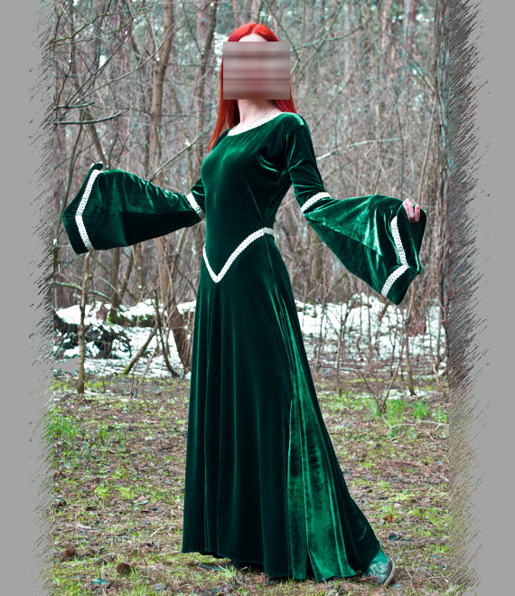 Global FreeShipping Fantasy Green Dress Medieval Dress Party Renaissance  Dresses Elven Dress Costumes