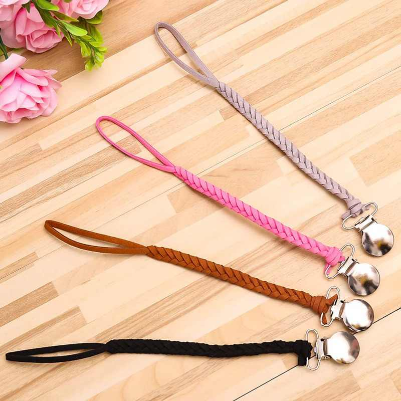 Leather Pacifier Clips Chain Dummy Clip Pacifier Holder Braided Clip Nipple Holder Soother Chain For Infant Baby Feeding