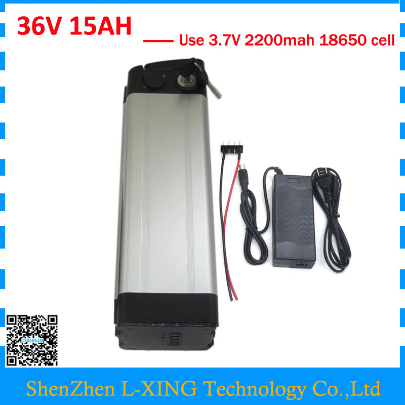 Free customs Fee bike battery 36v 15ah 500W silver fish li-ion 36v 15ah Battery use 2200mah 18650 cell with 2A Charger free customs fee 51 8v 20ah lithium battery 52 v 20ah battery 52v li ion battery use 3 7v 2500mah cell with 30a bms 2a charger