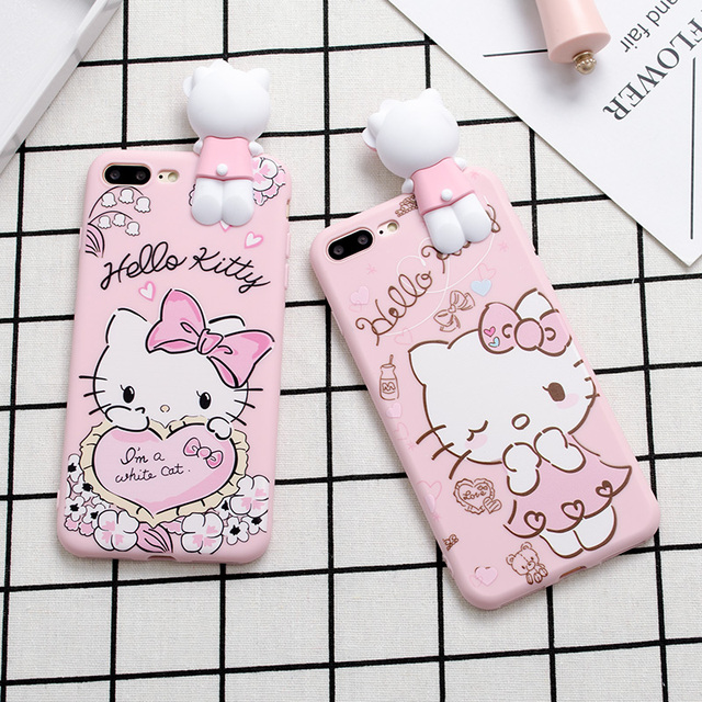 sports shoes 4d3fe 808c8 US $2.88 |Cute 3D Pink Hello Kitty Cat Case for iPhone 6 6sPlus Phone Back  Cover For iPhone 6S 7 Plus Soft TPU Lovely Capa Fundas Cases-in Fitted ...