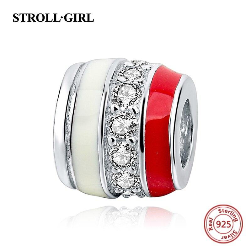 PINK COLOR ENAMEL CLEAR CZ Silver 925 Beads Fit Authentic charm Bracelet Original pandora Charm Antique Fashion Jewelry Gifts