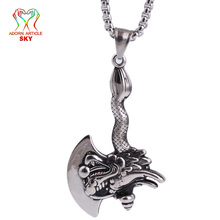 Hip-Hop Style Men's Pendant Silver Color Stainless Steel Axe Tool Zodiac Faucet Sharp Blade Necklace Personality Bicycle Jewelry