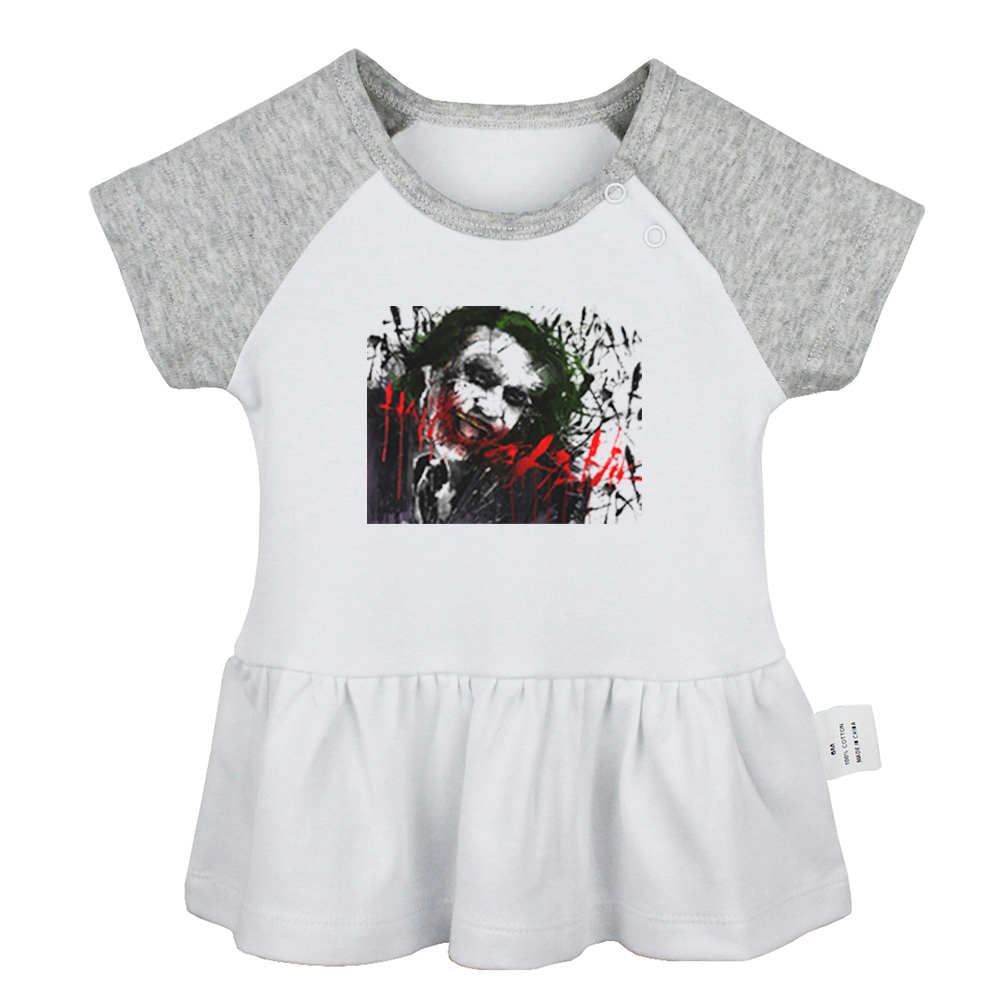 DC Comics Villain Batmen The Joker Fireproof IDFWU I Don't Fk With You Newborn Baby Girls Dresses Toddler Infant Cotton Clothes image