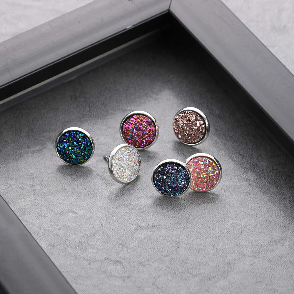 6 Pairs/Set 12mm Round Druzy Quartz Stud Earrings Set Bling Sparkly Crystal Rhinestone Silver Ear Studs Jewelry Accessories