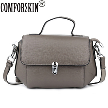 COMFORSKIN Luxurious Genuine Leather Womens Totes 2019 New Arrivals Ladies Messenger Bag Cross-body Bags Woman Handbags