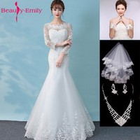 Beauty Emily White Lace Beads Wedding Dresses 2018 Mermaid Lace Up Appliques Bridal Dresses Wedding Gowns