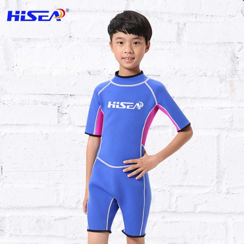 HISEA 2.5 MM Neopreen Wetsuits Kinderen Een stuk Zwemmen Draagt Duikpakken Korte Mouwen Jongens Meisjes Surfen Kinderen Rash guards