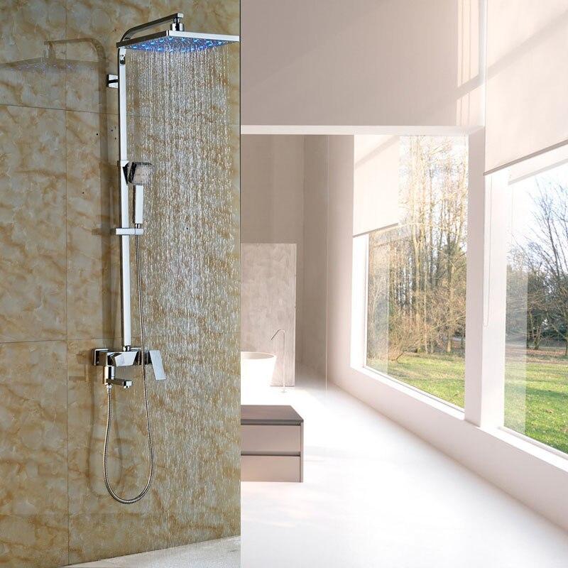 New 12 LED Light Rainfall Square Showerhead Bath Shower Faucet Set Wall Mount Chrome Bathroom Shower
