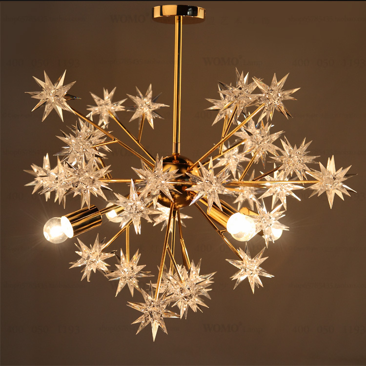 Golden chandelier lamp body warm acrylic stars creative ceiling lamp ikea simple shop lighting 4 heads pendant commercial lights in chandeliers from lights