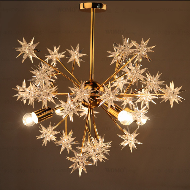 Golden Chandelier Lamp Body Warm Acrylic Stars Creative Ceiling Lamp Ikea  Simple Shop Lighting 4 Heads