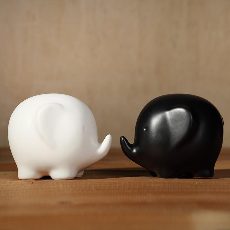 White And Black Ceramic Elephant Lovers Home Decor Crafts Room Kawaii Porcelain Ornament Brief Modern Animal
