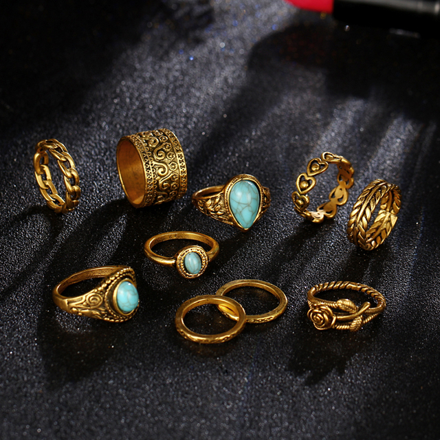 Shellhard Vintage Midi Rings Sets For Women Retro Antique Gold Silver Color Opals Stone Knuckle Ring Jewellery Femme 10pcs/set