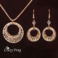 Women Fashion Casual Accessories Gold Plated Earrings Round Circle Shiny Crystal Pendant Necklace Set Costume Jewelry Sets
