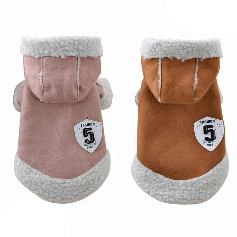 Fashion Buckskin Cat Coat Warm Fleece Jacket for Cats Puppy Small Dogs Winter Pet Clothing Cat Kitten Costume for Cold Weather