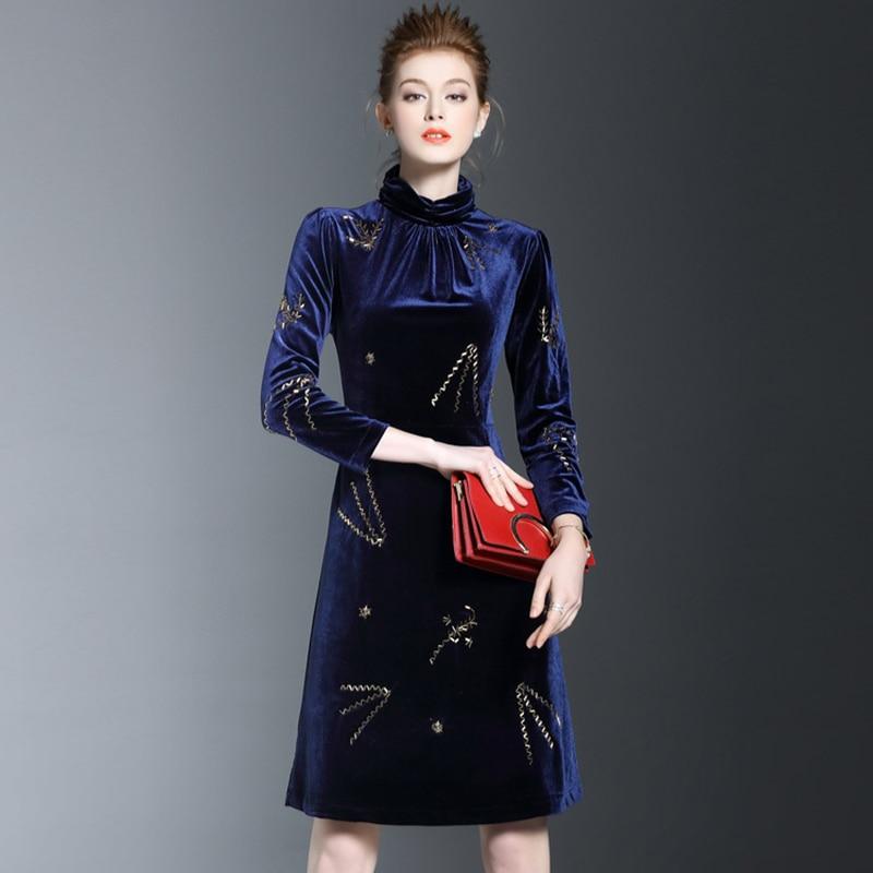 Col roulé velours Sexy gaine femmes robe 2019 printemps nouvelle couleur Pure haute qualité grande taille automne bleu Mini dame robes OK1382 - 5