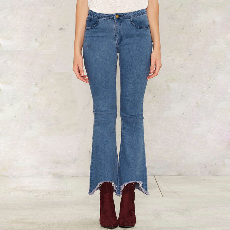 Womens Flare Jeans Blue High Waisted Irregular Leg Opening Skinny Tights Jean Woman Denim Pants for