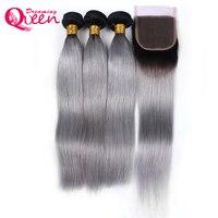 Ombre 1b серые прямые Человеческие волосы 3 Связки с 4x4 Синтетическое закрытие шнурка волос бразильский не Волосы Remy расширения Мечтая Queen проду