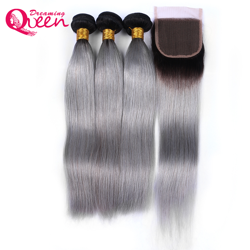 Ombre 1b Grey Straight Human Hair 3 Bundles With 4x4 Lace Closure Brazilian Non Remy Hair Extensions Dreaming Queen Products
