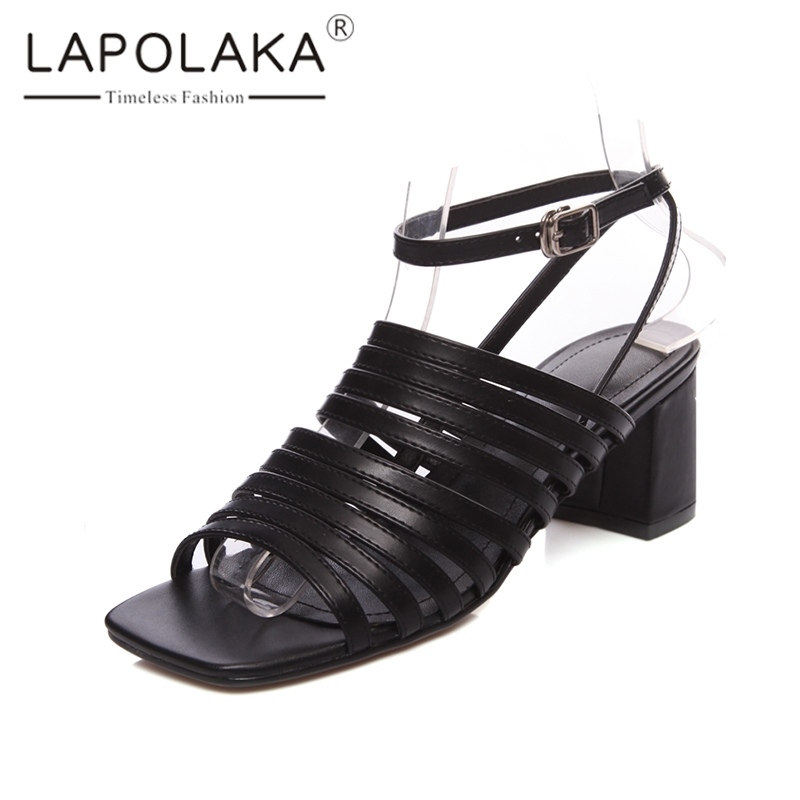 Lapolaka 2019 Brand New Large Size 33-40 Gladiator Solid Sandals Women Summer Cow Leather High Heels Sandals Party Shoes WomanLapolaka 2019 Brand New Large Size 33-40 Gladiator Solid Sandals Women Summer Cow Leather High Heels Sandals Party Shoes Woman