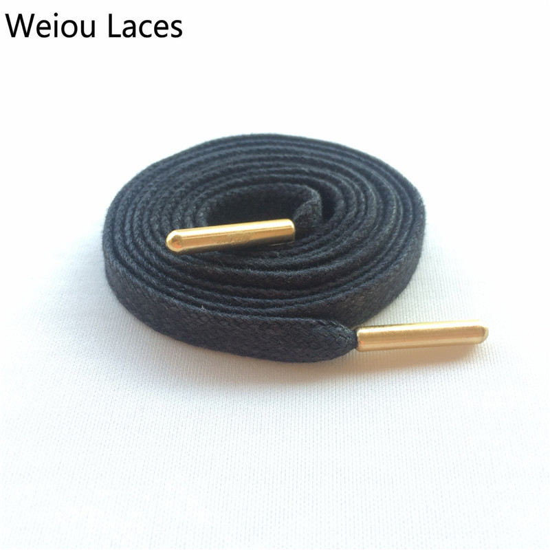 Weiou Heavy Duty Waxed Cotton Flat Shoelaces With Gold Metal Aglets Bright Color Cotton Shoe Laces String For Dress Shoes Boots