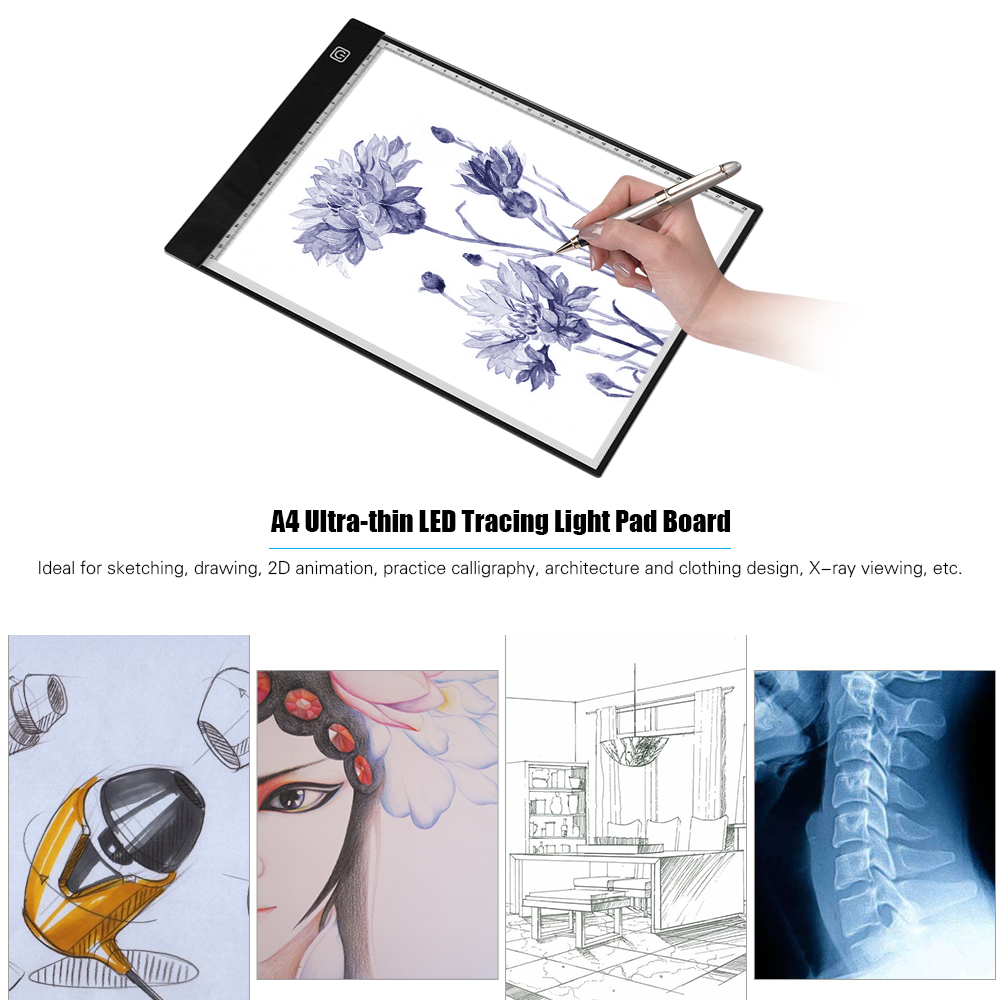 LED Light Board for Tracing Drawing Design Drawing A4 LED Light Box with 3 Adjustable Brightness Artists Animation Ultra-Thin LED Copy Board Painting Light Pad with USB Cable for Sketching