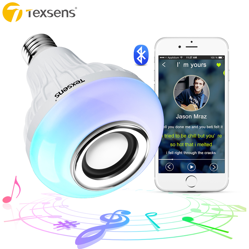 Texsens LED Bulb Light Lamp E27/E26 RGB Wireless Bluetooth Speaker Bulb Music Playing 24 Remote Control Night Light with Battery