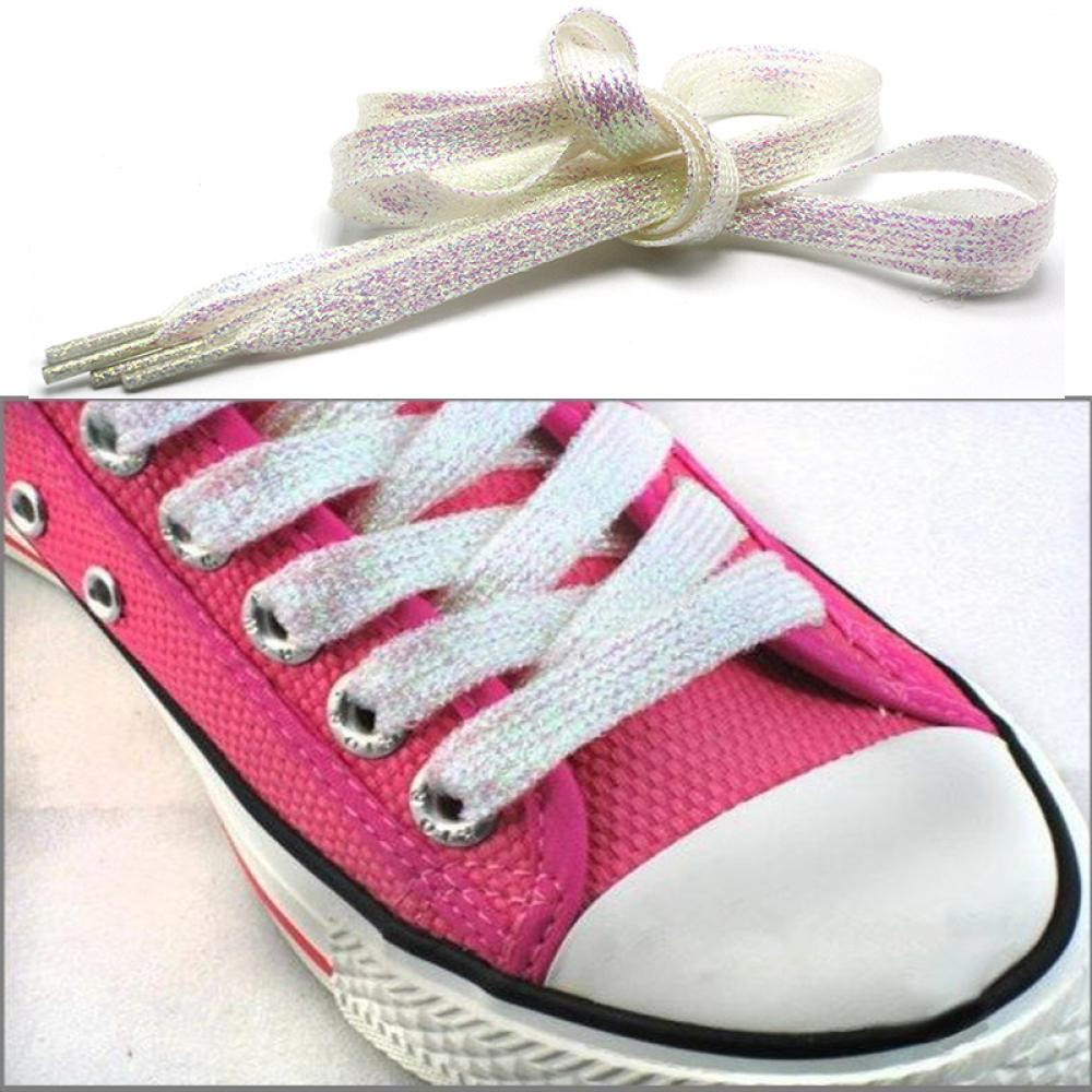 gootrades White Metallic Glitter Flat Shoelaces Canvas 12c342f2ccbe
