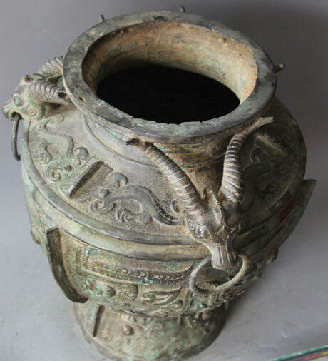 Free Shipping 524 15 Archaic Chinese Dynasty Bronze Sheep Wine Ware