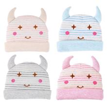 Фотография CHINATERA Hot Sale Newborn Kids Autumn Winter Baby Cute OX Horn Hats Warm Wool soft Knitted Caps for Children Girls Boys