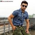 2015 men Washed denim shirts short sleeve topwear cargo shirts casual  Fold shirts military style army