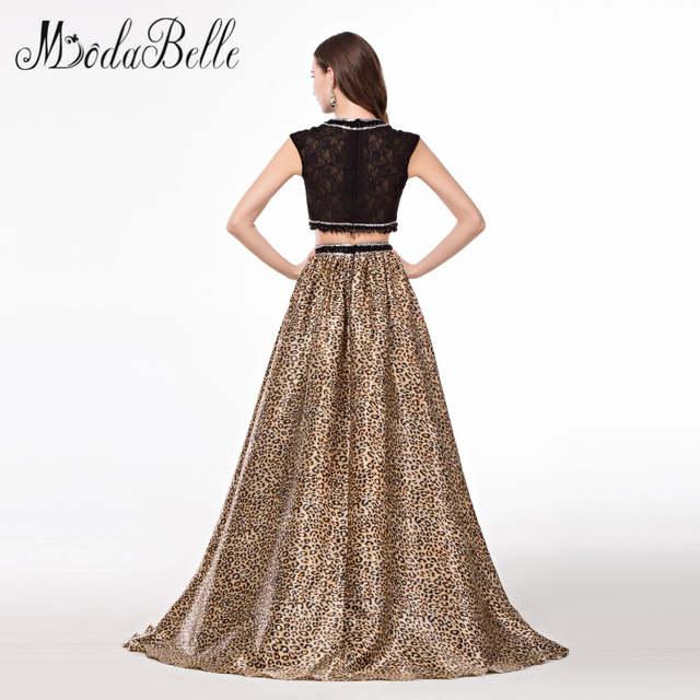 19608b4193 placeholder modabelle Rhinestone Beaded 2 Piece Prom Dresses Black Leopard  Print Robe Bal De Promo Evening Dress