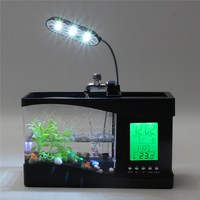 ZHIYANG Usb Mini Fish Tank Desktop Electronic Aquarium Mini Fish Tank With Water Running LED Pump