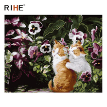 RIHE Cute Cat Diy Painting By Numbers Animal Flower Oil On Canvas Hand Painted Cuadros Decoracion Acrylic Paint 40X50CM