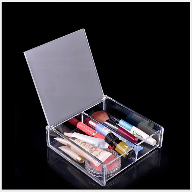 Clear Acrylic Makeup Organizer With Lid Cosmetic Box Case Jewelry
