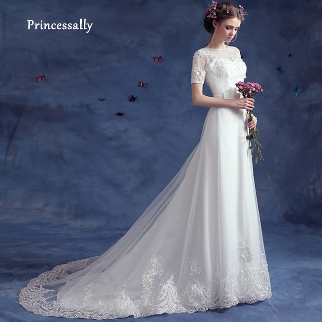 Us 1121 5 Offvestido De Noiva New Simple Wedding Dress With Sweep Train Short Sleeve Lace Beaing Slim A Line Elegant Bridal Wedding Gown 2018 In