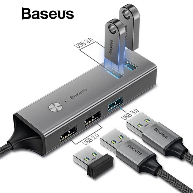 Baseus USB or Type C 3.0 to 3 USB3.0 + 2 USB2.0 OTG HUB Converter Adapter Compatible Windows Mac OS System for Type-C MacBook цена и фото