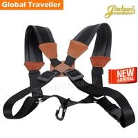 1 Piece Professional Cozy Black Leather Metal Hook Saxophone Shoulders Strap Correa Soft Saxphone Strap For