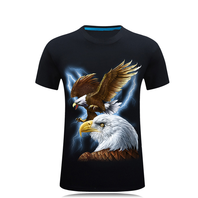 2018 Ny 3D-print Eagle mønster T-shirt mænds sort 3d t-shirt Hip Hop Short Sleeve Casual toppe og tees Plus Size Fashion shirts