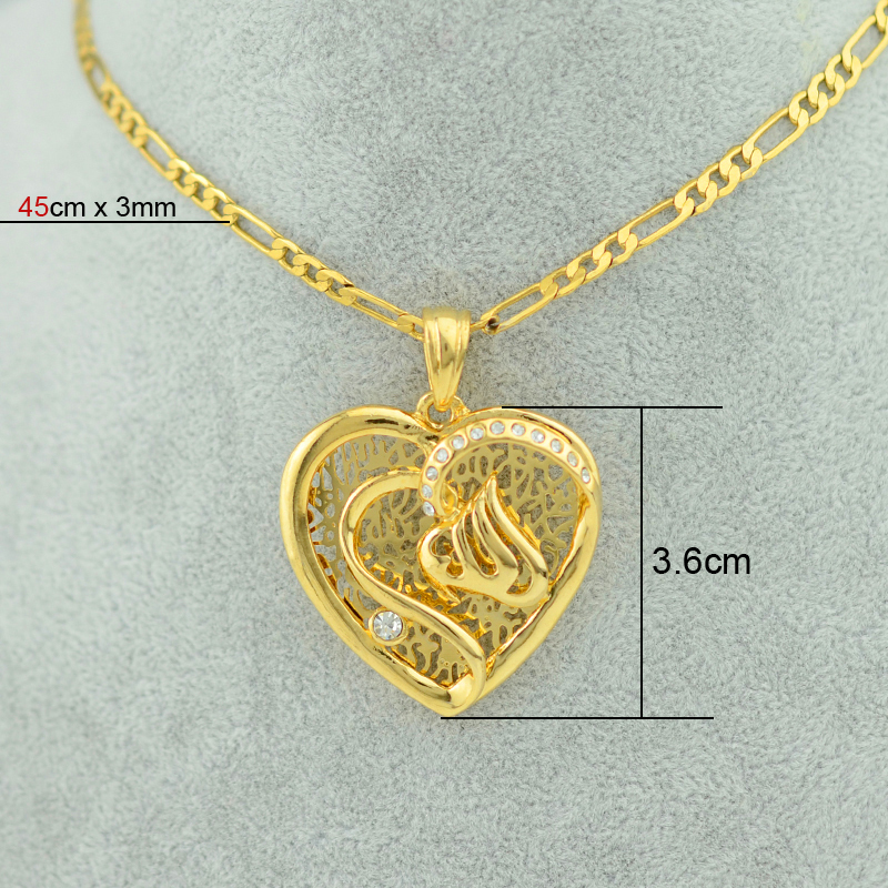 22k yellow real gold filling plated heart allah necklace pendants