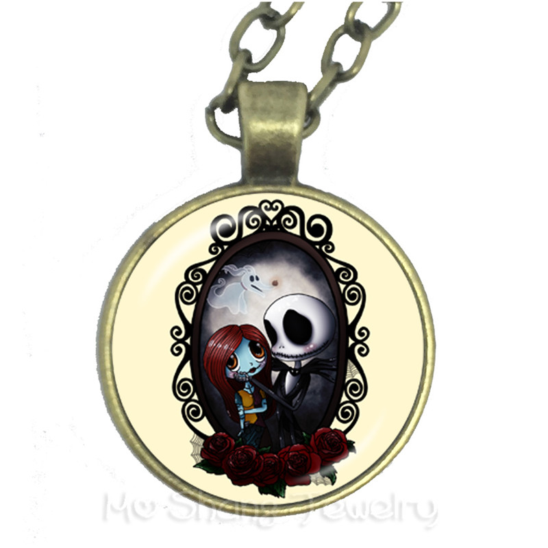 The Yellow Background Jack Skellington And Sally Glass Cabochon Fashion Necklace Halloween Party Jewelry Gifts Sweater chain