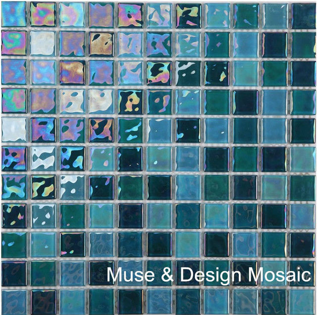 Schillern Shinny Blauen 4mm Dicke Glas Mosaik Fliesen Fur Kuche