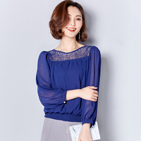 UNINICE Spring New Chiffon Blouse Shirt Women's Clothing Plus Size 3XL Hollow Out Lace Blouse Women Shirt Tops Loose Casual 2017