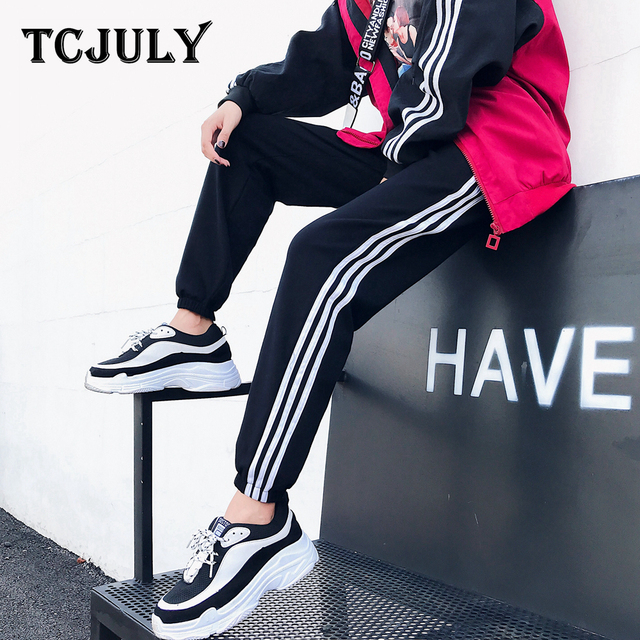 154df7d93141b TCJULY Fashion Streetwear High Waist Drawstring Striped Pants Plus Size  Loose Sports Trousers Stretchy Casual Women s